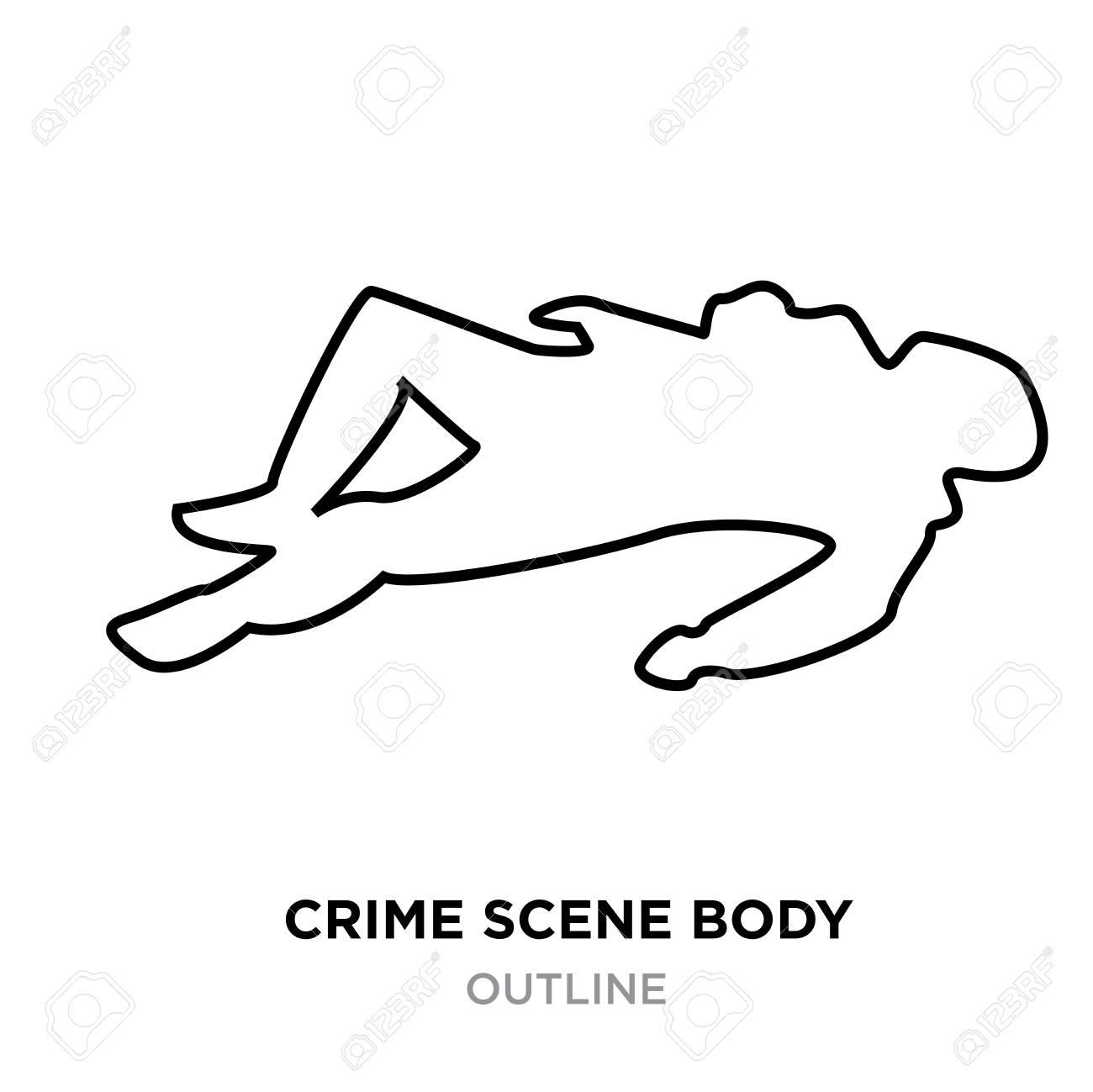 A crime scene body outline on white background, vector illustration.