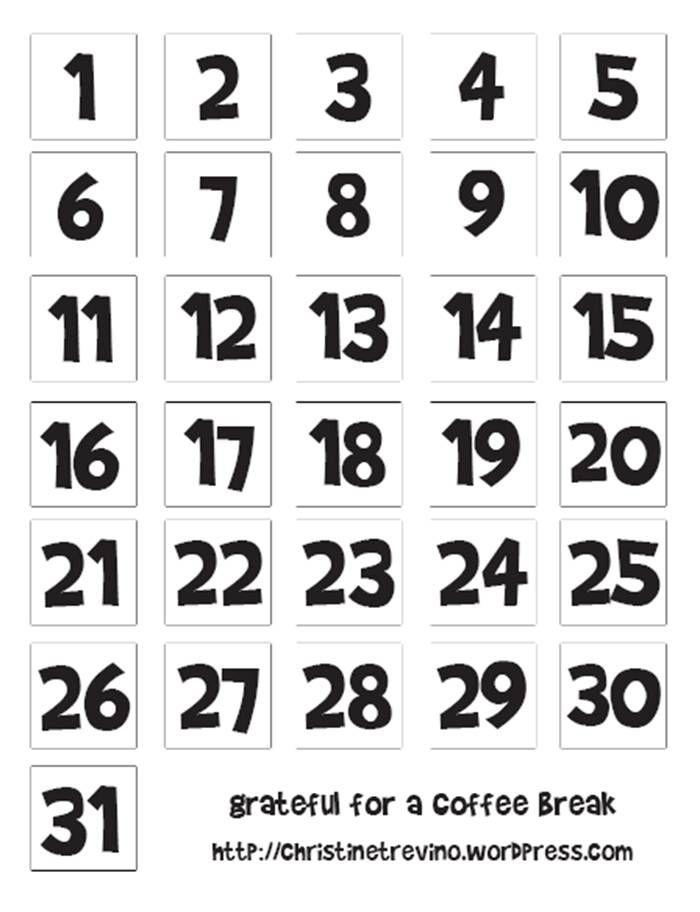 Chalk Calendar Numbers Clipart.