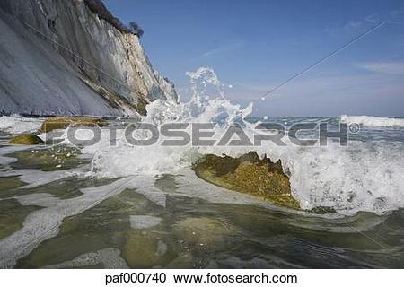 Stock Photography of Denmark, Mon Island, Mons Klint, Chalk cliffs.