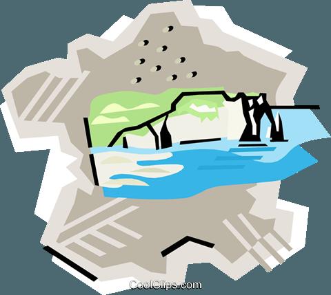 France Chalk cliffs Royalty Free Vector Clip Art illustration.