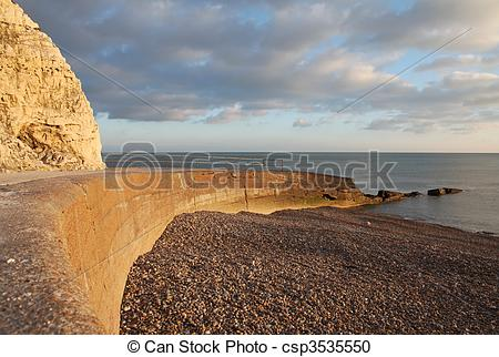 Stock Photography of chalk cliff hill seaside seven sisters.