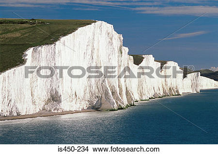 Stock Photo of Seven sisters white chalk cliffs is450.