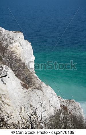 Stock Photographs of White chalk cliffs at danish seaside.