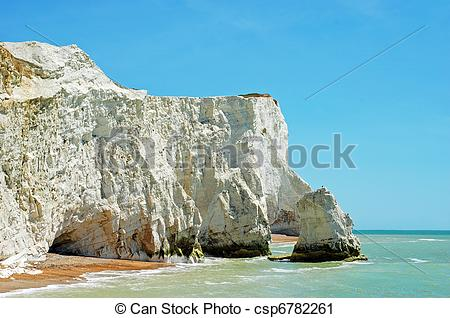 Stock Photography of chalk cliffs seaford england with blue sky.
