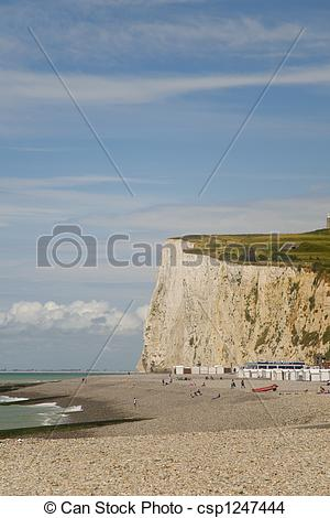 Stock Photo of Chalk cliffs in Normandy.