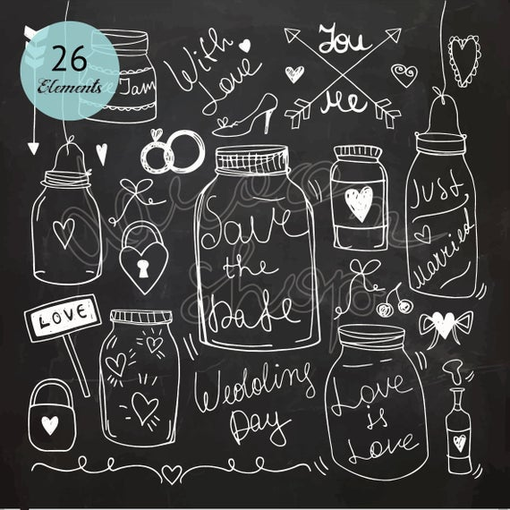 Wedding Chalkboard Doodle Clipart/Love Chalk Drawing/Wedding Invitation/DIY  Design Elements/Digital Instant Download/EPS PNG Illustration.