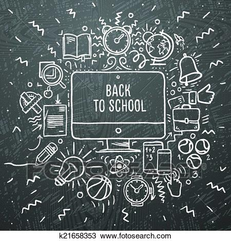 Freehand chalk drawing school items Clipart.