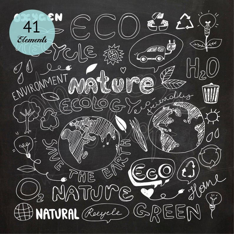 Chalk Drawing Eco Recycle Doodle Recycling Icons Clipart Scrapbook  Chalkboard Environment Clip Art Nature Collection Ecology Earth Day.