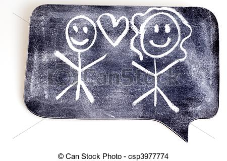Drawing of Stick Figure Love on Chalk Figure. csp3977774.