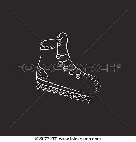 Clip Art of Hiking boot with crampons. Drawn in chalk icon.