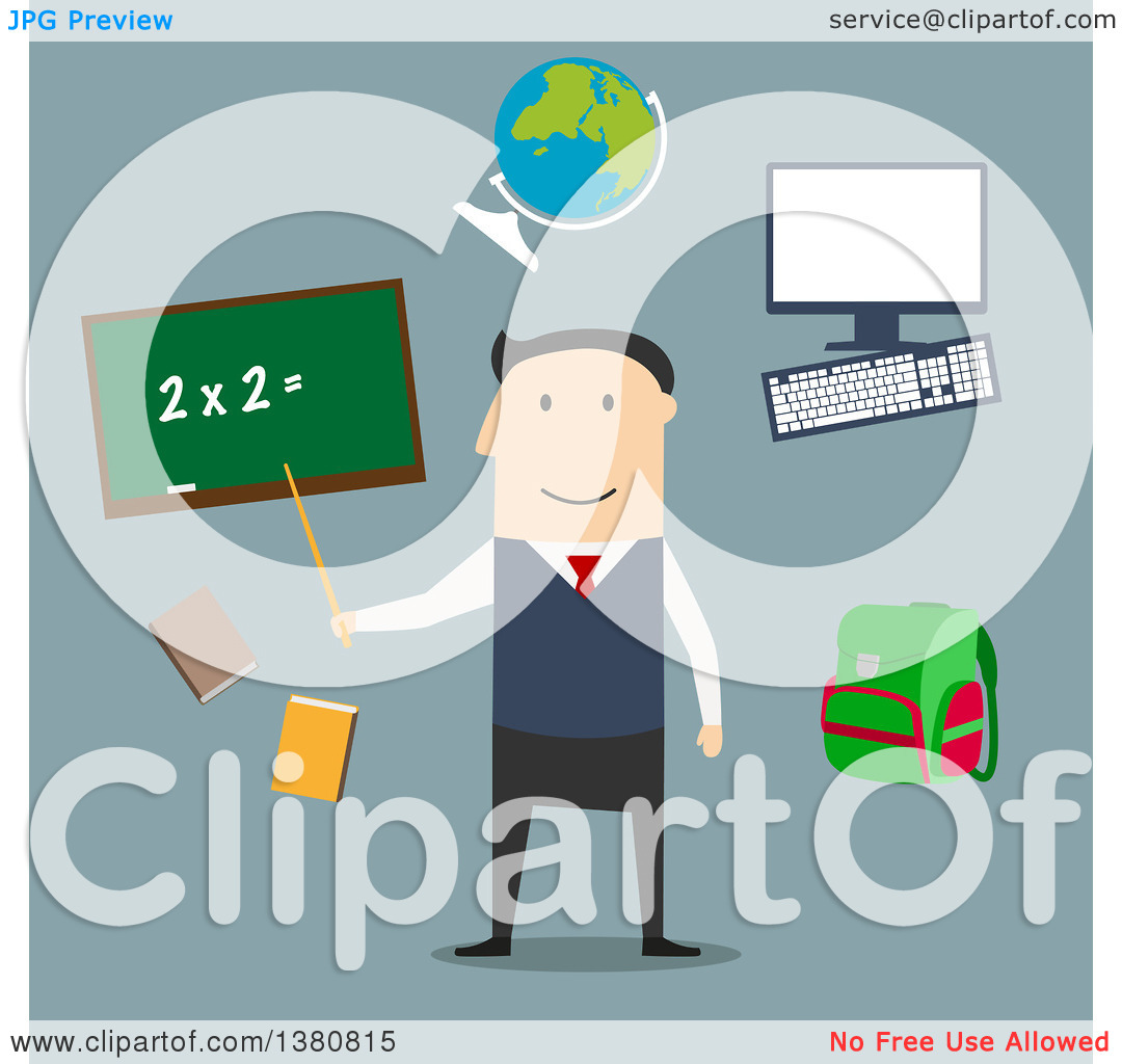 Clipart of a Flat Design Male Teacher by Blackboard with Chalk.
