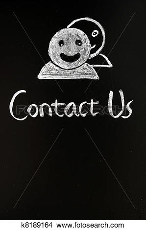 Stock Photo of Contact online button with human figures drawn with.