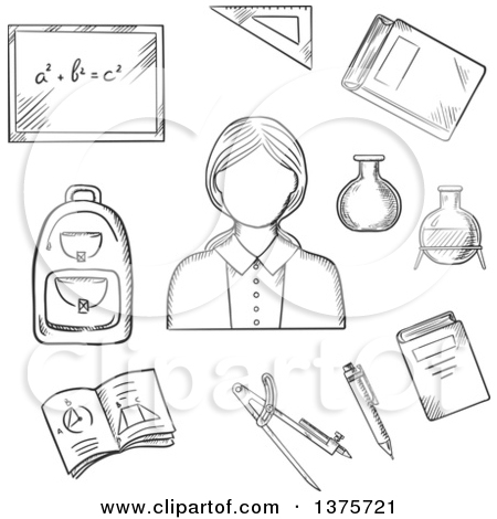 Clipart of a Black and White Sketched Female Encircled by.