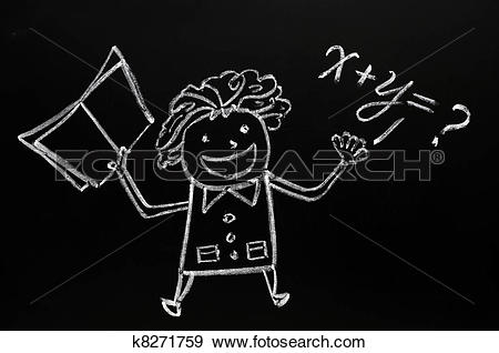 Stock Photograph of Teacher figure drawn with chalk on blackboard.