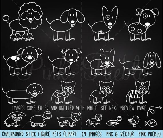 Chalkboard Stick Figure Pets Clipart Clip Art by PinkPueblo.