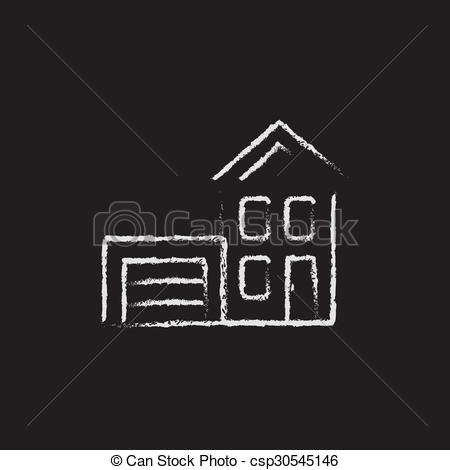 Chalk House Drawing Clipart.