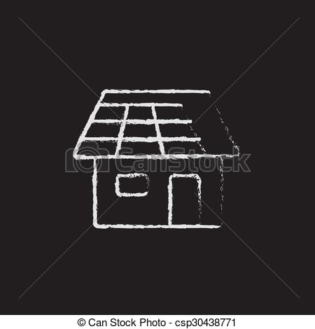 Vectors Illustration of House with solar panel icon drawn in chalk.