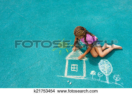 Stock Photo of Little black girl drawing chalk house image.