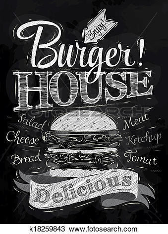 Drawing of Poster lettering Burger House chalk k18259843.