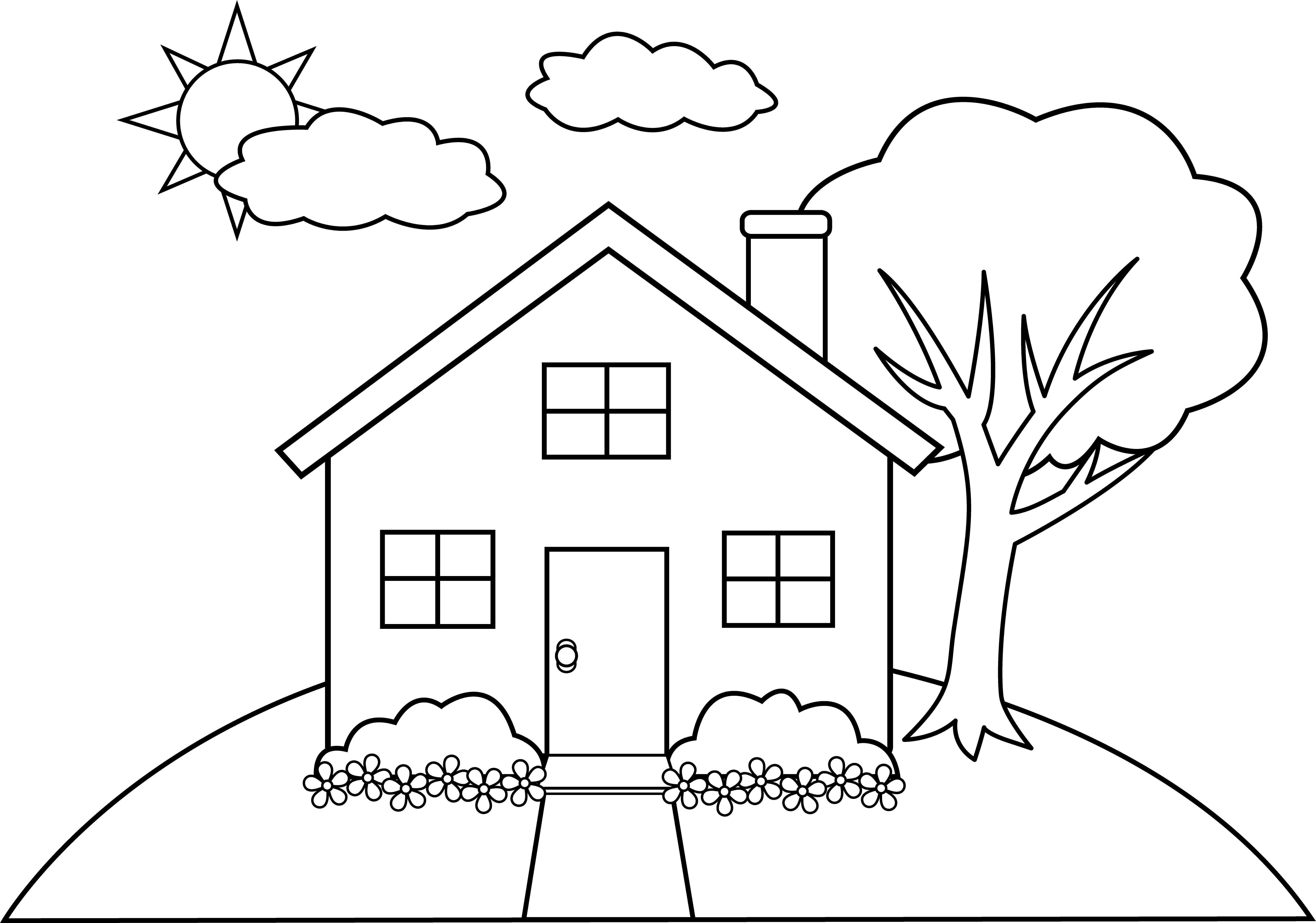 Line Drawing House Clipart.