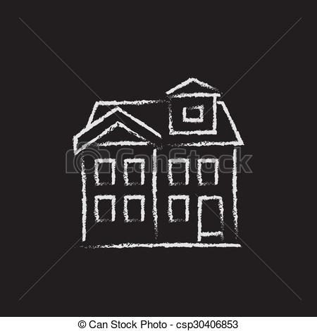 Clipart Vector of Two storey detached house icon drawn in chalk.
