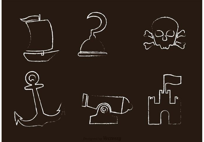 Chalk Drawn Pirate Icons Vector.