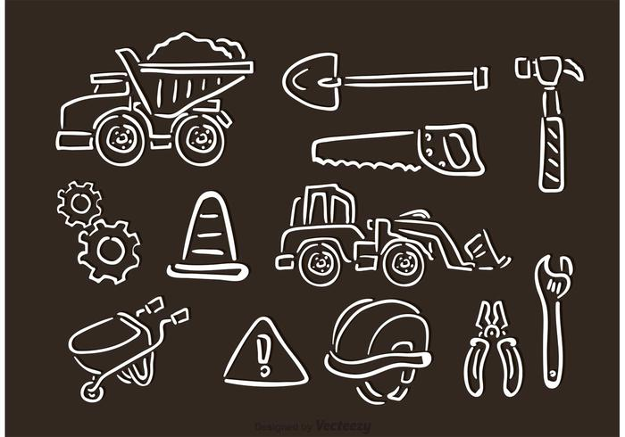 Contruction Chalk Drawn Vector Icons.
