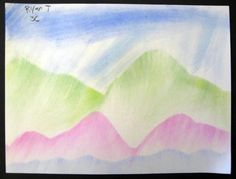 Chalk pastel mountains for art class.