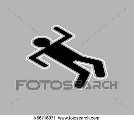 Chalk silhouette corpse. Crime scene. Chalk outline of dead body. Vector  illustration. Clipart.