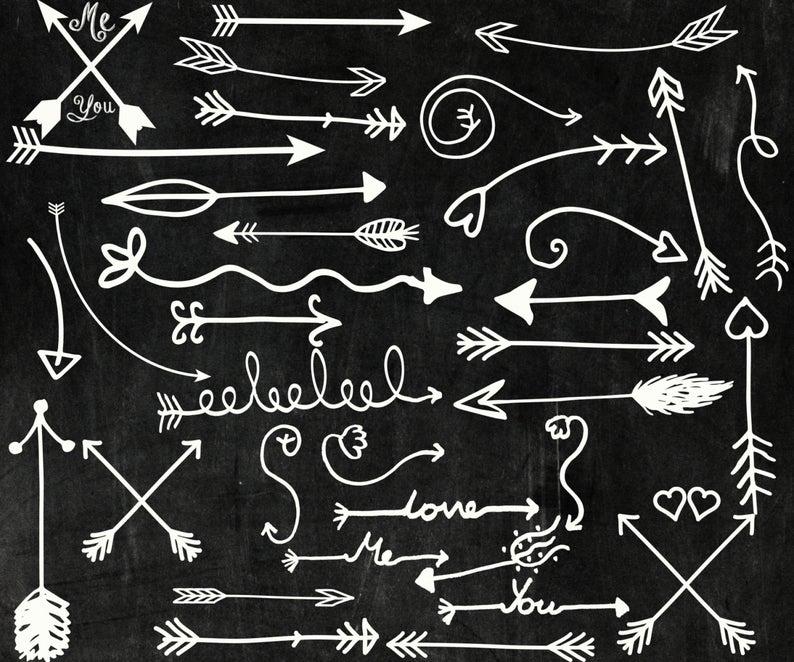Chalk tribal arrows clip art:
