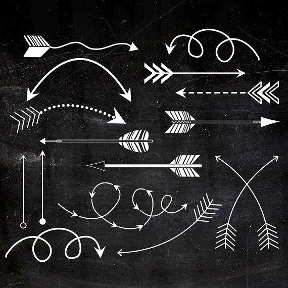 Tribal Arrows Clipart, Printable arrows, white chalk arrows on black.