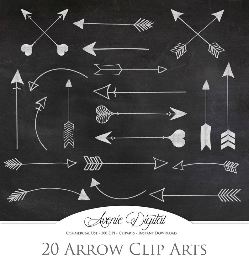 White chalkboard Arrow Clipart . Scrapbook printables, Tribal doodle arrows  Commercial Use. Hand drawn archery graphics for logos Download..