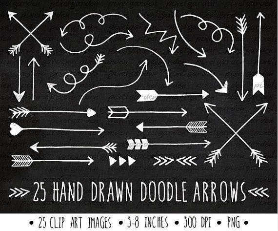 White Arrows Clip Art Set. Hand Drawn Arrows Clipart. Chalkboard.