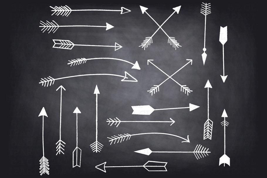 Chalkboard Hand Draw Arrow ClipArt.