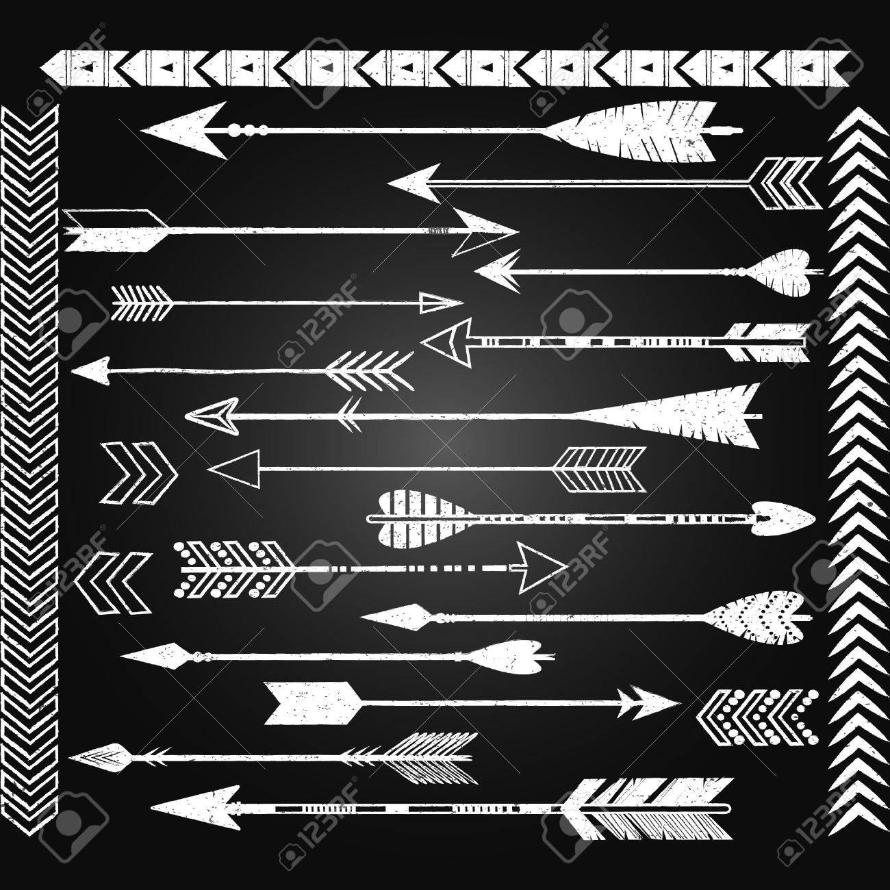 Chalkboard Arrow Clip Art Set. White Arrow..