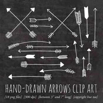 White Chalkboard Arrows Clip Art, Doodle Arrows for TpT Sellers.