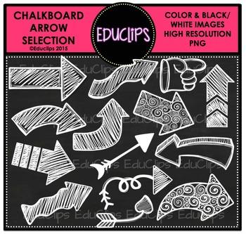 FREE ~ Chalkboard Arrow Clip Art Selection {Educlips Clipart}.