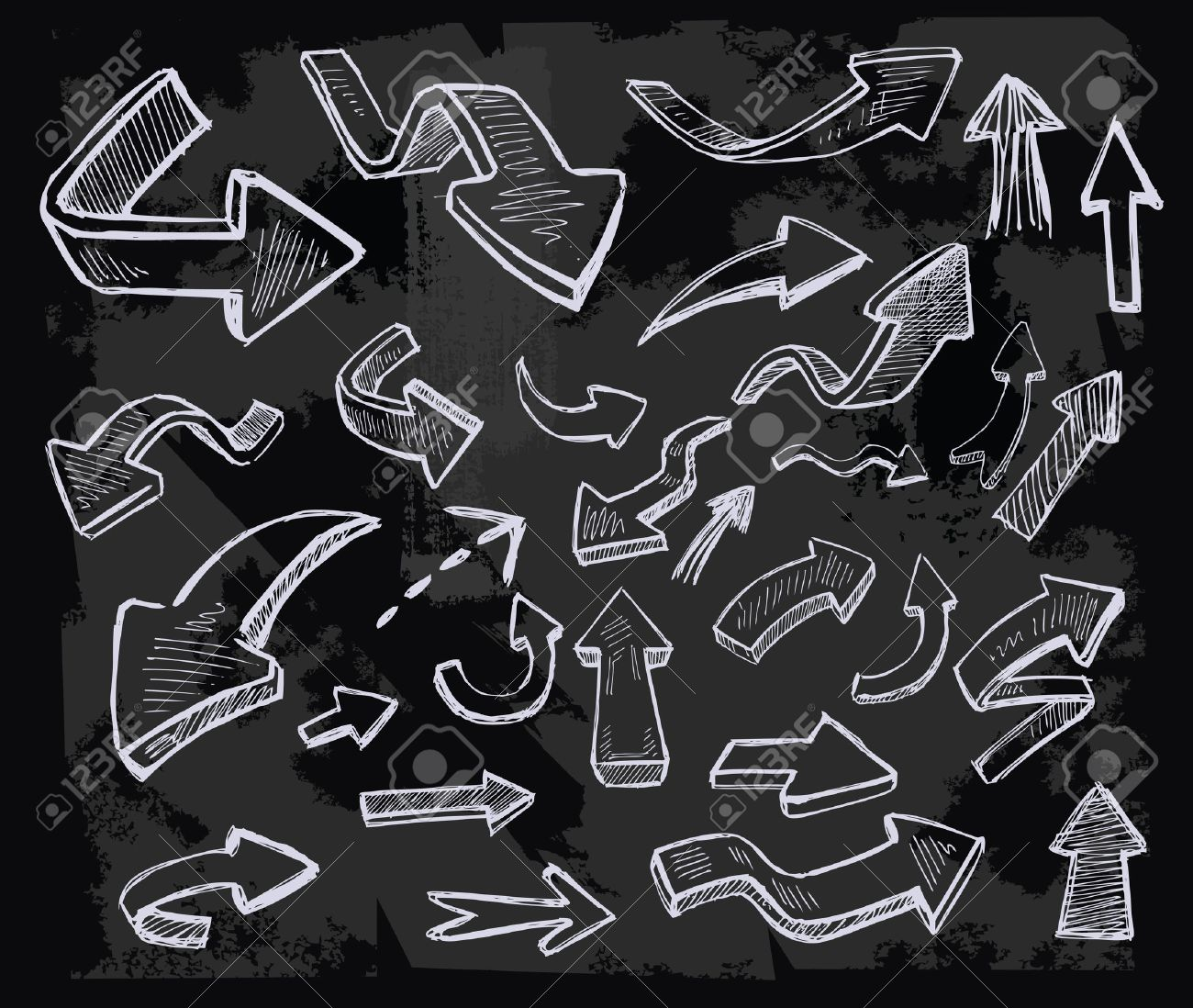 vector hand drawn arrows icons set on chalkboard.