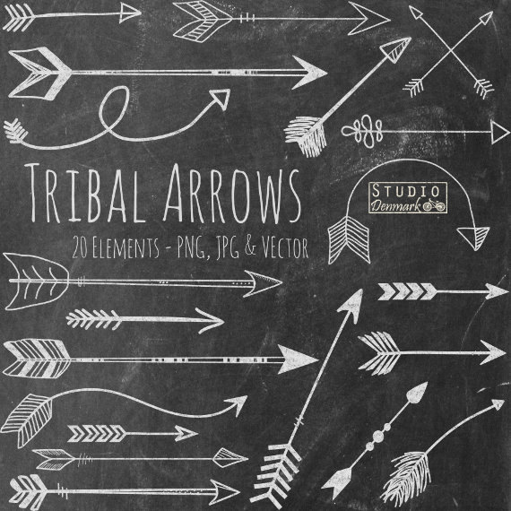 Chalk Tribal Arrows Clipart.