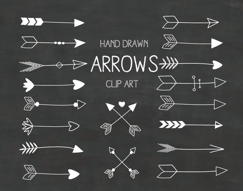 White Hand Drawn Arrows Clipart (A set of 18).