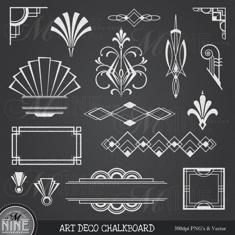CHALK ART DECO Clipart: Chalkboard Art Deco Clip Art Design Elements,  Instant Download, Vintage Accents.