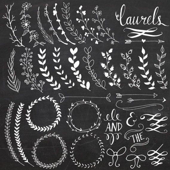 Chalkboard Laurels & Wreaths Clip Art // Clipart Photoshop Brushes.