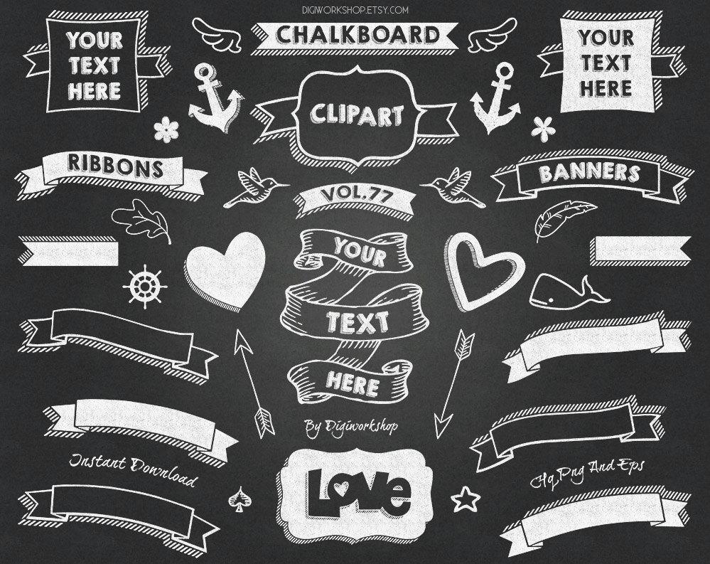 Chalkboard Clip Art CHALKBOARD BANNERS II pack.