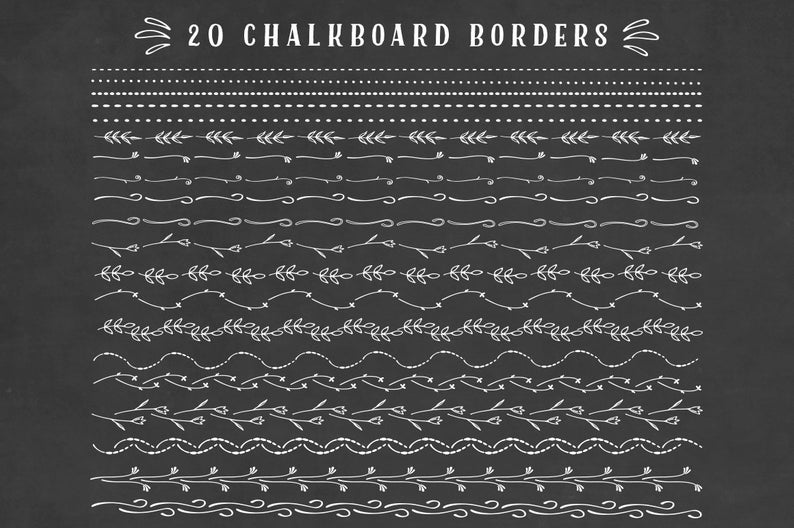 Chalkboard border floral clipart set, chalkboard doodles clip art set,  chalk borders, chalkboard ornaments, dividers, elements.