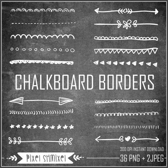 Chalkboard Borders Clipart Hand Drawn Border by PixelShmixel.