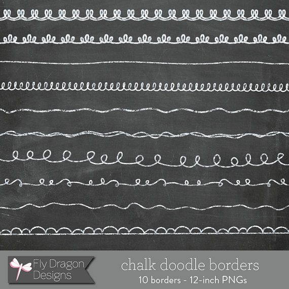 Chalk Clip Art Doodle Borders and FREE by FlyDragonDesign on Etsy.