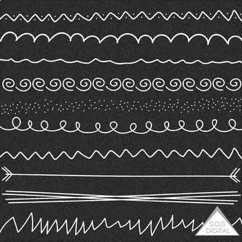 10 White Hand Drawn Chalkboard Borders.