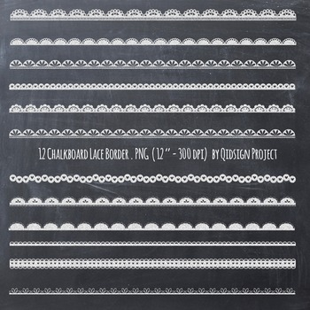 Chalkboard lace border clipart, chalkboard border, lace border.