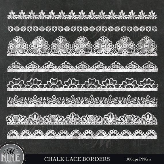 Chalk LACE BORDERS Clip Art / Chalkboard BORDER Clipart / Chalk Lace Clip  Art Downloads, Chalk Scrapbook Border Clip Art.