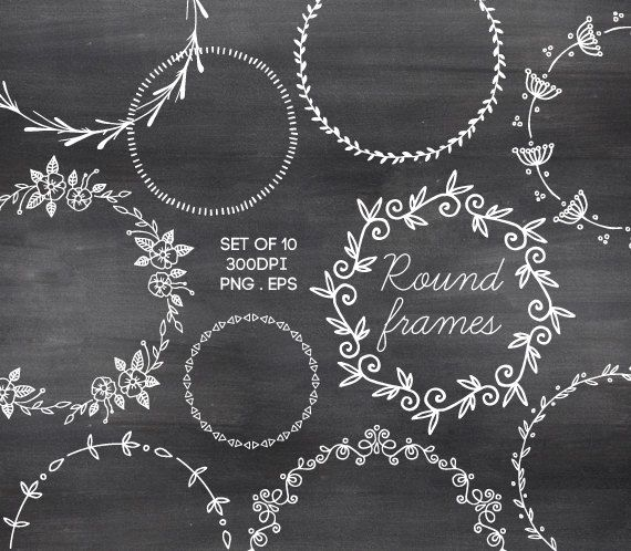 Doodle Round Borders Clipart Circle Frames Hand Drawn Chalkboard.